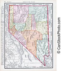 Un mapa antiguo de color antiguo de nevada, Estados Unidos