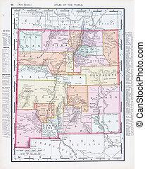 Un mapa antiguo de color antiguo de Nuevo México, Estados Unidos