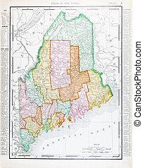 Un mapa antiguo de colores de la cosecha, une estados