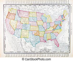 Un mapa antiguo de Estados Unidos, Estados Unidos, Estados Unidos