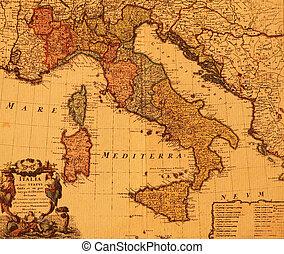 Un mapa antiguo de Italia