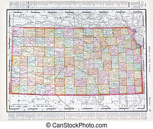 Un mapa antiguo de kansas, EE.UU