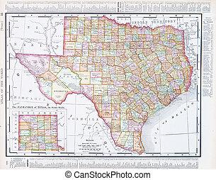 Un mapa antiguo de Texas, TX Estados Unidos, Estados Unidos