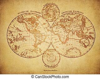 Un mapa antiguo del mundo de 1860