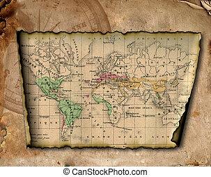 Un mapa antiguo del mundo.
