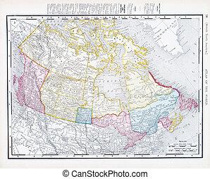 Un mapa antiguo y antiguo de Canadá