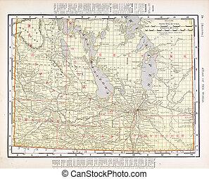 Un mapa antiguo y antiguo de Manitoba, Canadá
