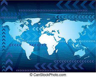 Un mapa azul grande