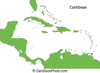 Un mapa caribiano verde