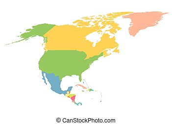 Un mapa colorido de Norteamérica