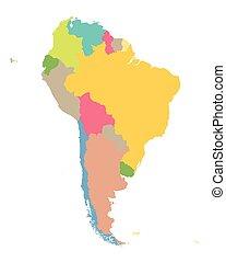 Un mapa colorido de Sudamérica