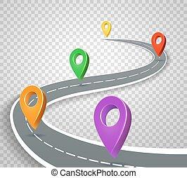 Un mapa de carreteras 3D de punteros de fondo transparente. Camino abstracto con indicadores de vector de ilustración