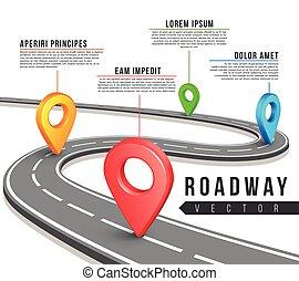 Un mapa de carreteras de vectores de diseño de información
