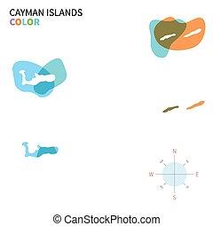 Un mapa de color vector abstracto de las islas Caimán