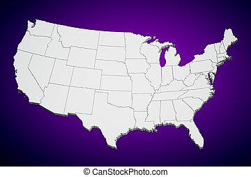 Un mapa de Estados Unidos en púrpura