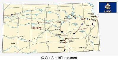 Un mapa de Kansas con bandera