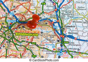 Un mapa de la calle de Birmingham