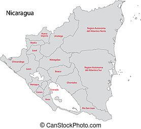 Un mapa de nicaragua gris
