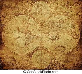 Un mapa de vintage del mundo alrededor de 1675-1710