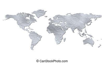 Un mapa del mundo aislado. Papel arrugado