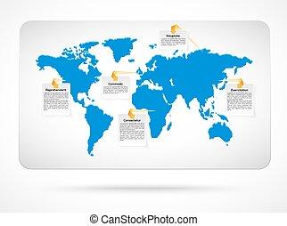 Un mapa del mundo del vector con infografías