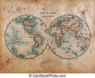 Un mapa del mundo en hemisferios