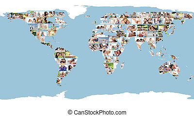 Un mapa del mundo ilustrado hecho de imágenes
