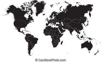 Un mapa del mundo negro sobre un fondo blanco. Ilustración de vectores