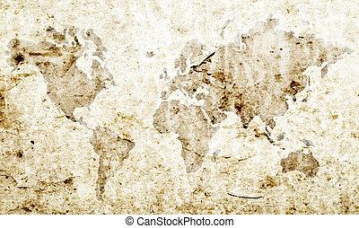 Un mapa del mundo sucio.