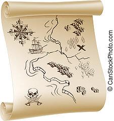 Un mapa del tesoro pirata