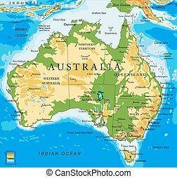 Un mapa físico australiano