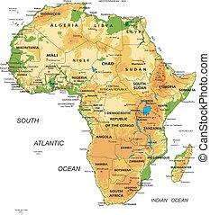 Un mapa físico de África