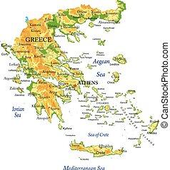 Un mapa físico de Grecia