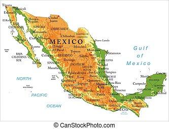 Un mapa físico de México