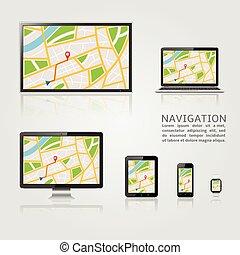 Un mapa GPS que muestra dispositivos digitales modernos