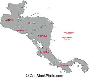 Un mapa gris de América Central