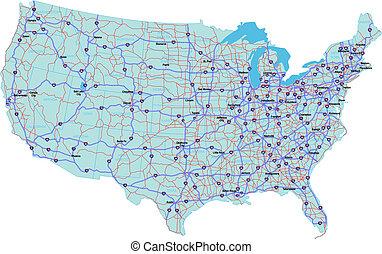 Un mapa interestatal de los Estados Unidos