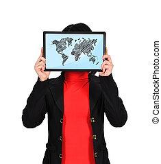 Un mapa mundial en pantalla