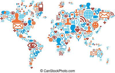 Un mapa mundial hecho con iconos de los medios sociales