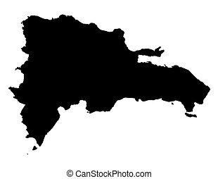 Un mapa negro de la República Dominicana