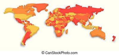 Un mapa político 3D del mundo. Ilustración de vectores