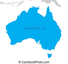 Un mapa político de Australia