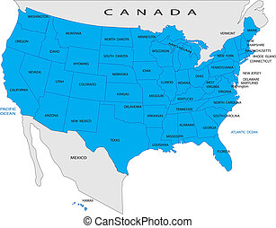 Un mapa político de Estados Unidos