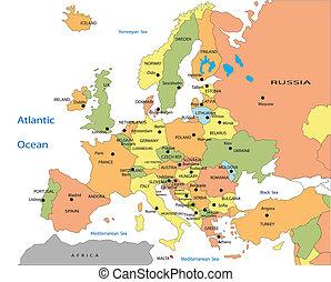 Un mapa político de Europa