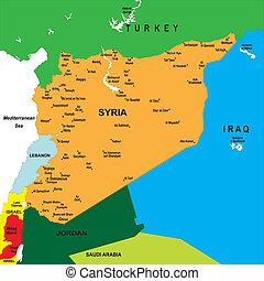Un mapa político de la siria