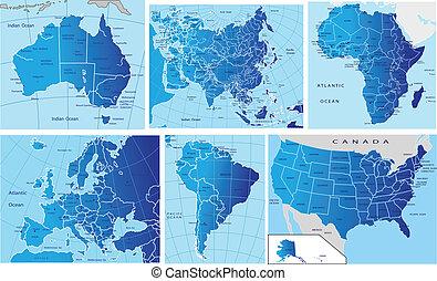 Un mapa político de los continentes