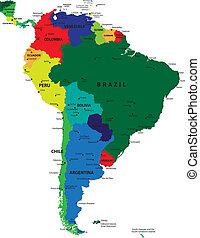 Un mapa político de Sudamérica
