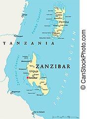 Un mapa político de Zanzibar