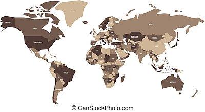 Un mapa político del mundo. Mapa vectorial simplificada