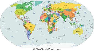 Un mapa político global del mundo.